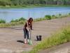 Уборка территории на набережной Гребного канала на Кубке России по фидеру 2015