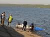 Местные хулиганы выбросили биотуалет в водоём