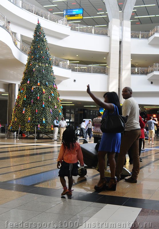 Новогодняя ёлка в аэропорте OR TAMBO в Йоханнесбурге, ЮАР 2013