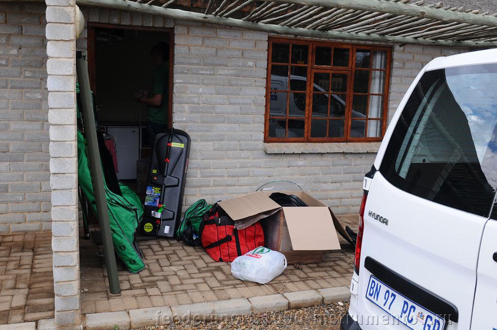 Распаковка рыболовного оборудования на ЧМ в ЮАР 2013